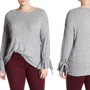 Lucky Brand Ribbed Knit Bell Sleeve Sweater Gray